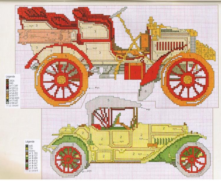 Вышивка ретро автомобиль схема 429