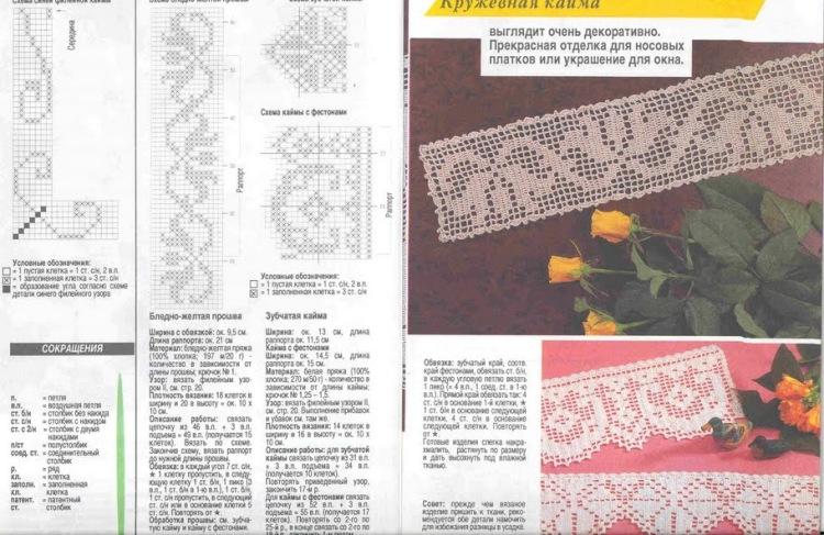 Тесьма крючком схема филейное вязание