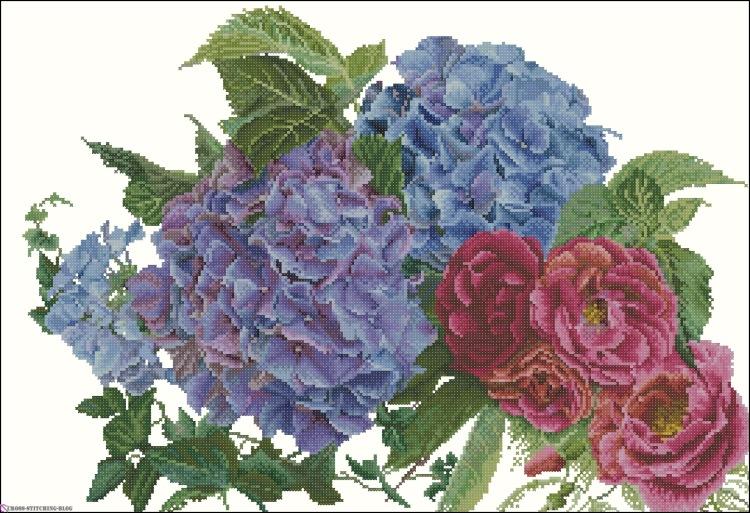 Вышивка гортензия и розы 77