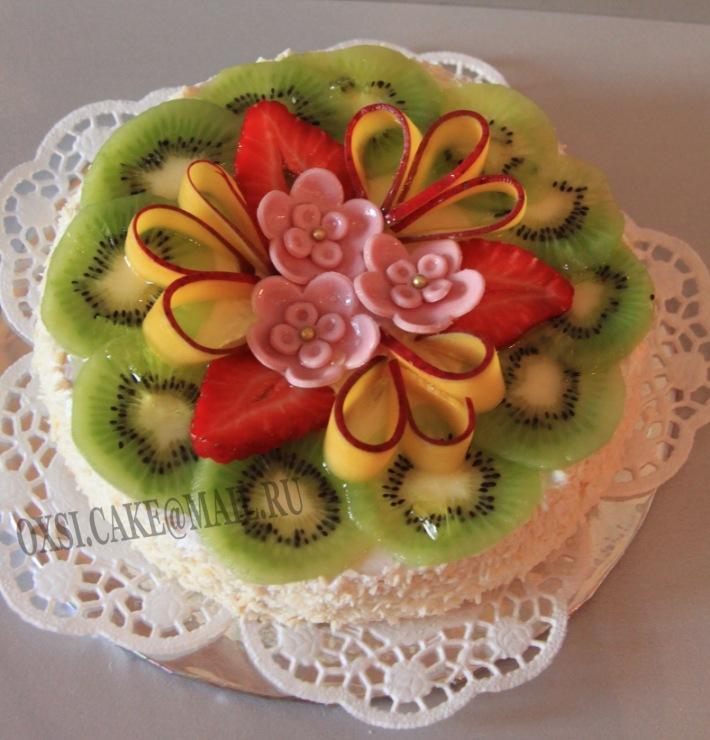 Торты с фруктами и цветами фото и