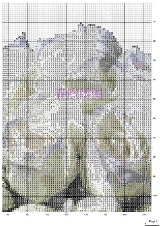 Букет белых роз схема вышивки