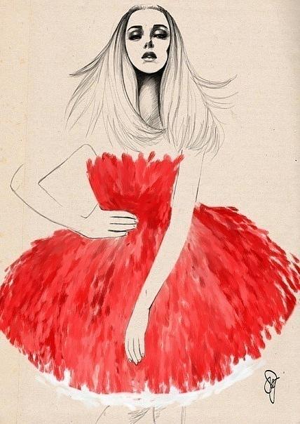 Фото карандашом девушка в платье