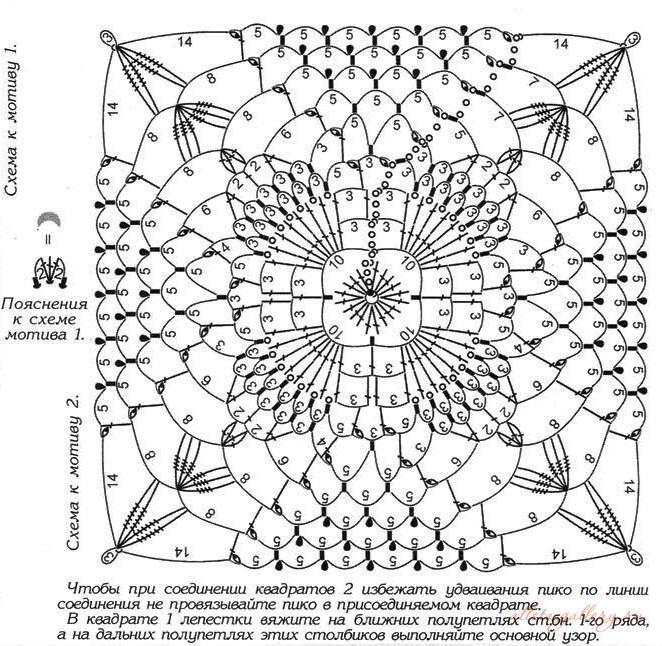 Мотивы квадратов крючком со схемами и описанием