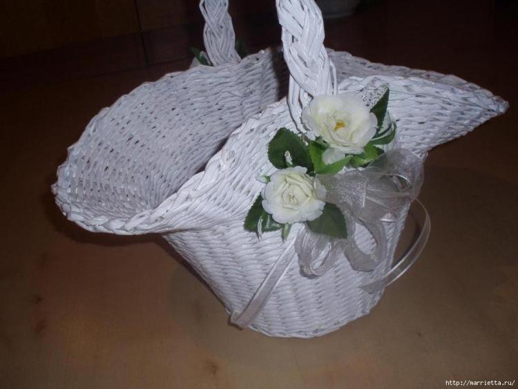 Плетение из газет корзинок для цветов