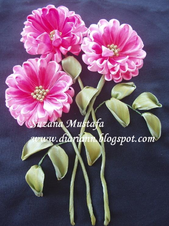 Вышивка лентами хризантем мастер класс