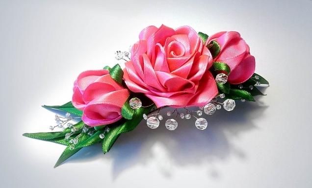 Заколка роза из атласных лент своими руками - Luboil.ru
