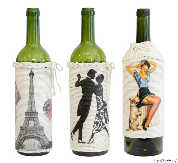 Декупаж на бутылке от вина
