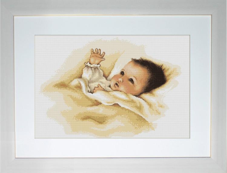 Вышивка крестиком мать и младенец