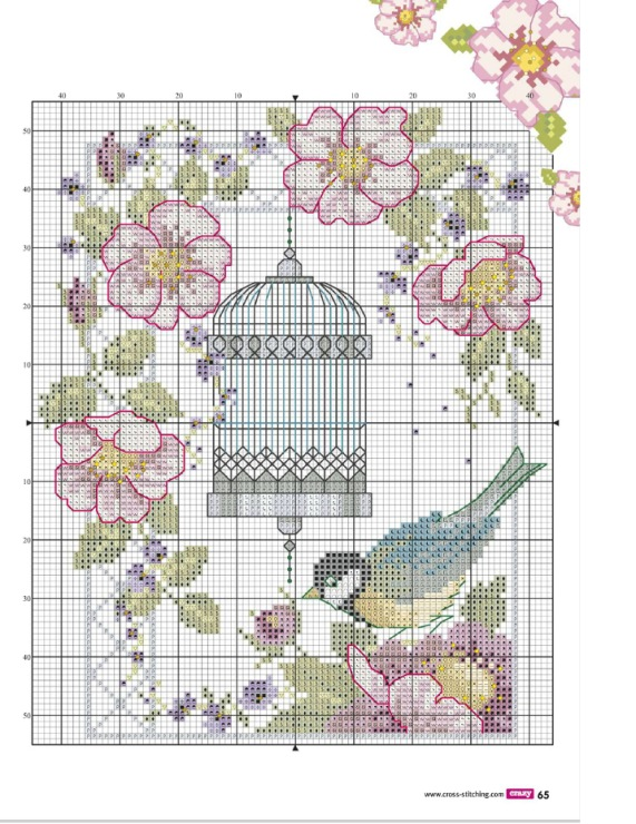 Птица в клетке схема вышивки 93