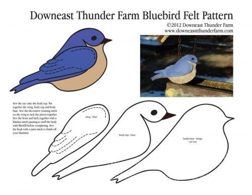 Выкройка птички из ткани