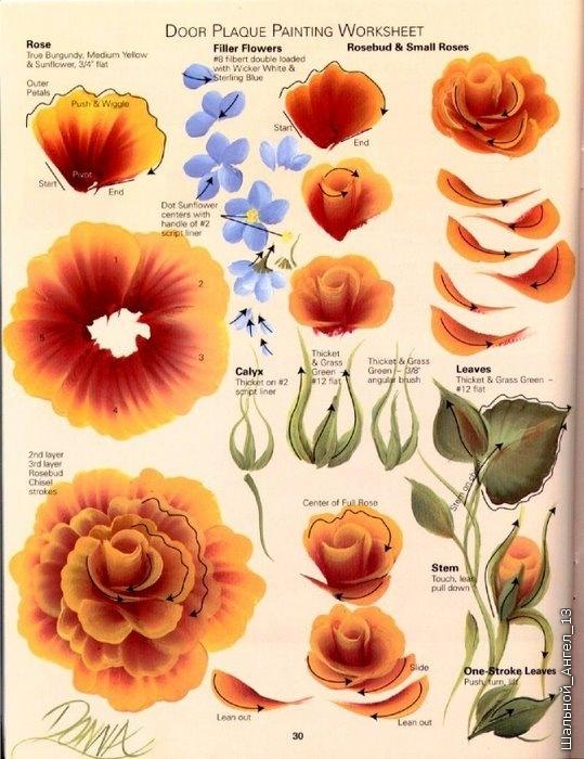 Как рисовать цветы в росписи