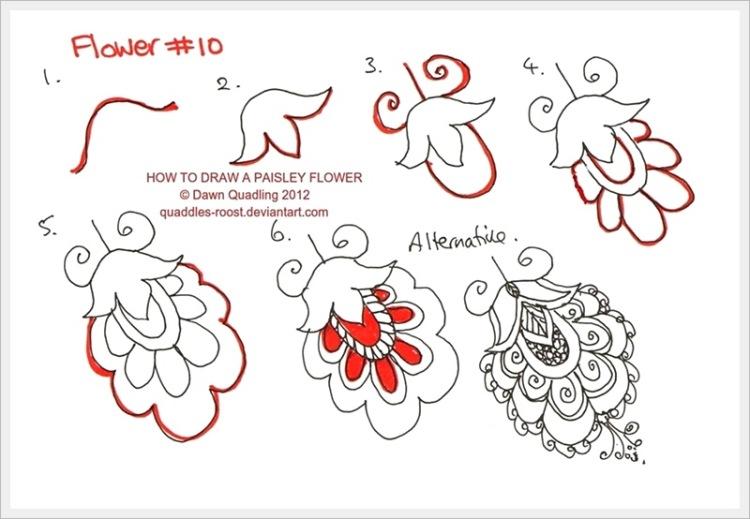 Нарисовать цветы узором поэтапно