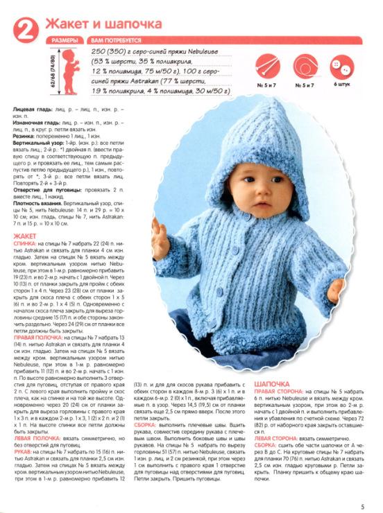 Вязание для детей от 0 до 3 лет с описанием и схемами спицами 58