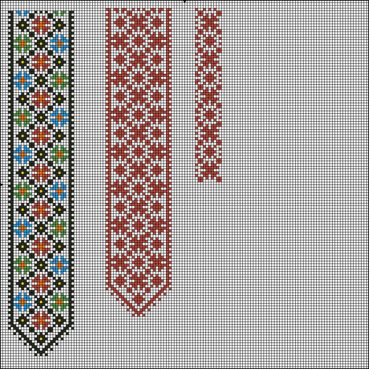 Схема вышивки крестом на галстуке